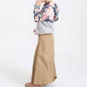 Girl's Long Simple Khaki Skirt